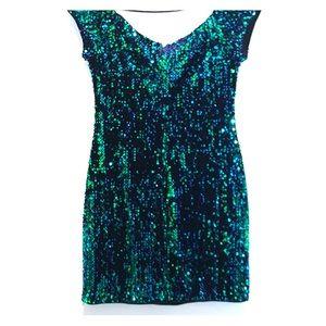 Blue & Green Sequins Dress